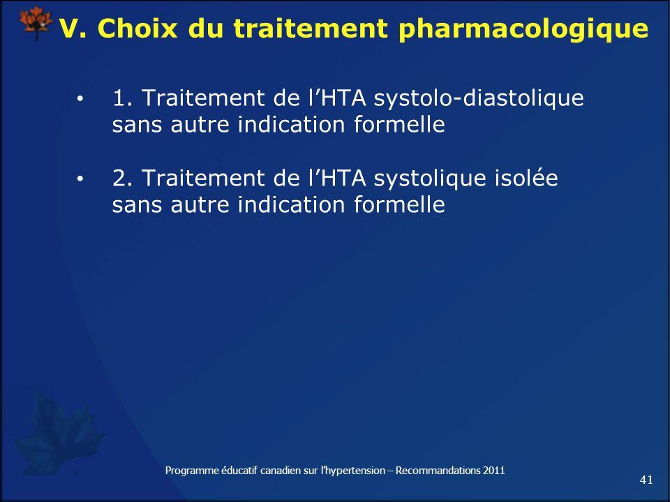 V. Choix du traitement pharmacologique