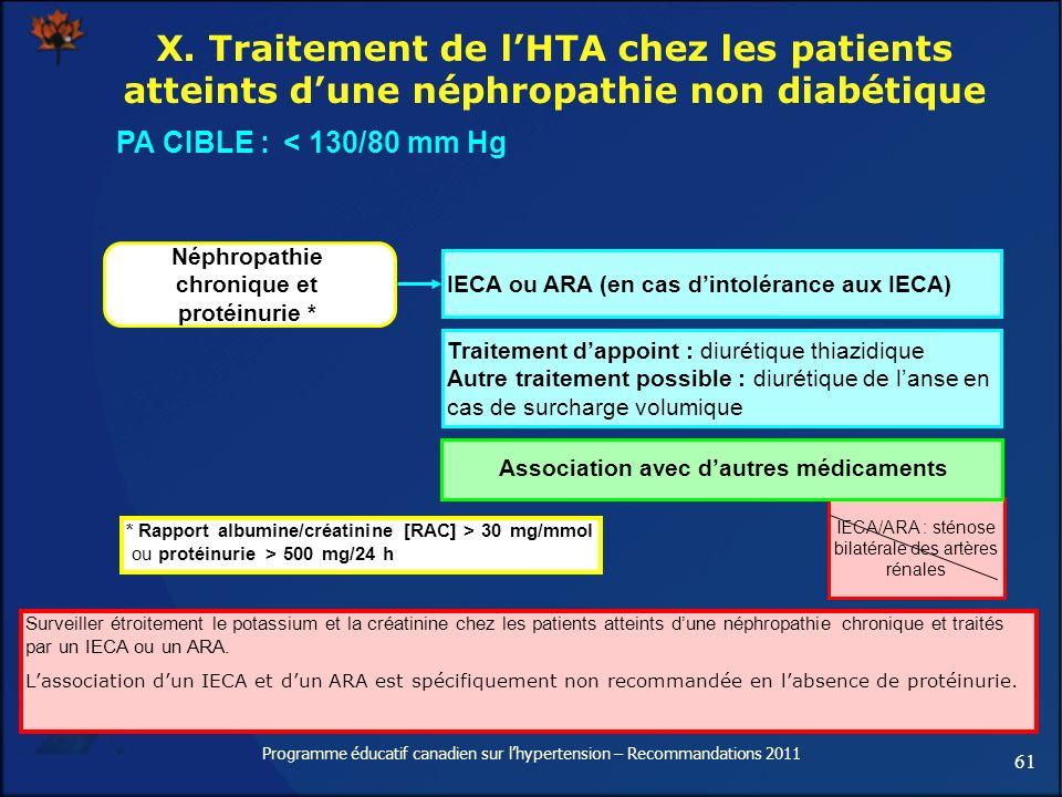 X. Traitement de l'HTA chez les patients atteints d'une néphropathie non diabétique