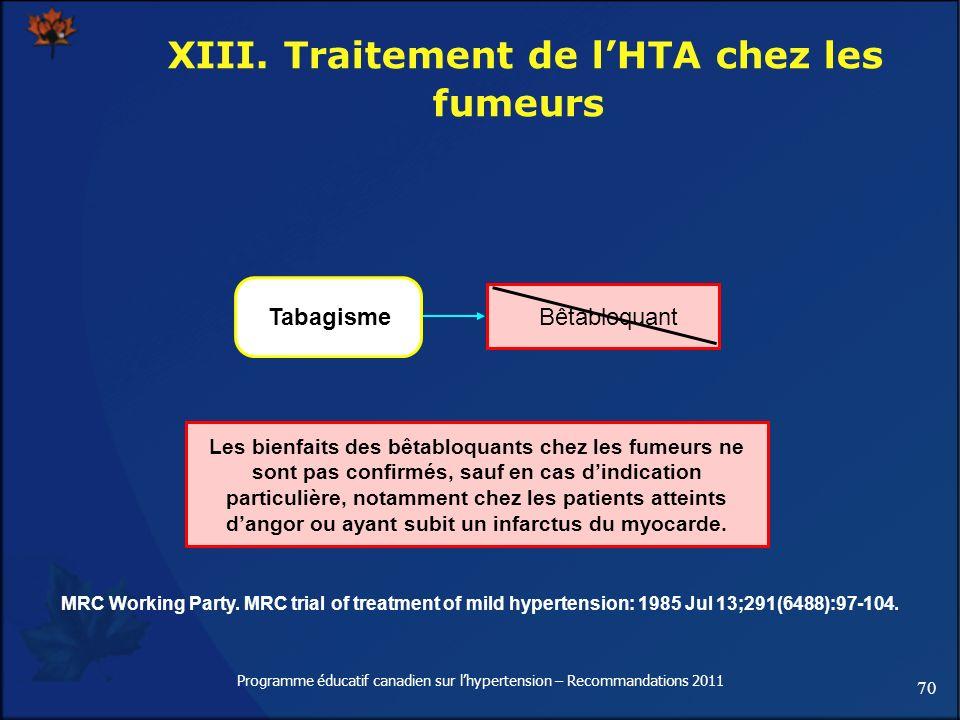 XIII. Traitement de l'HTA chez les fumeurs