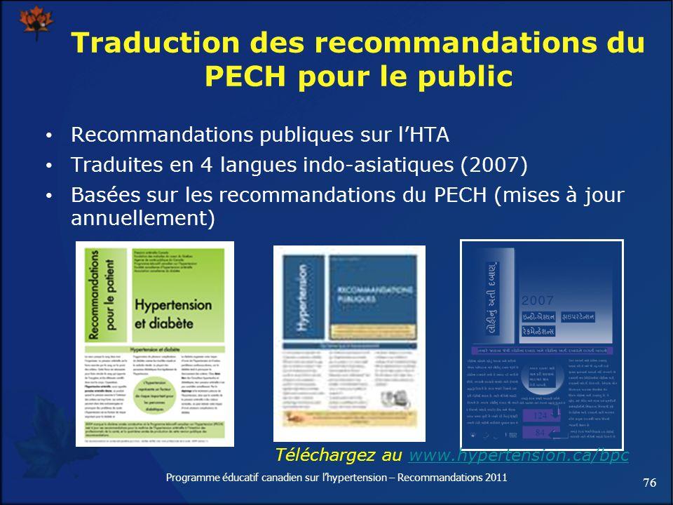 Traduction des recommandations du PECH pour le public