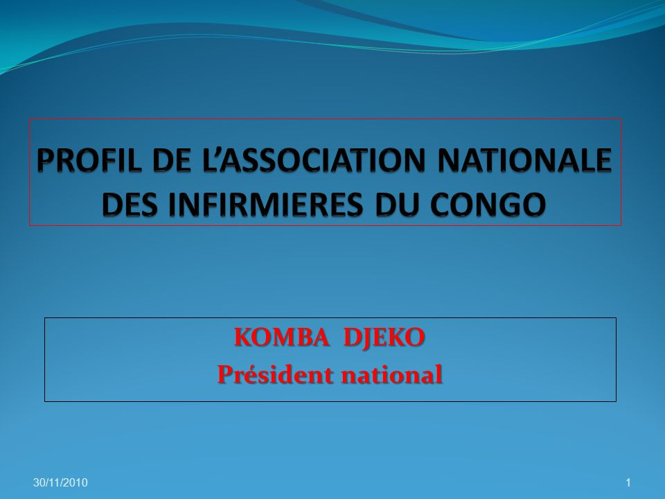 PROFIL DE L'ASSOCIATION NATIONALE DES INFIRMIERES DU CONGO