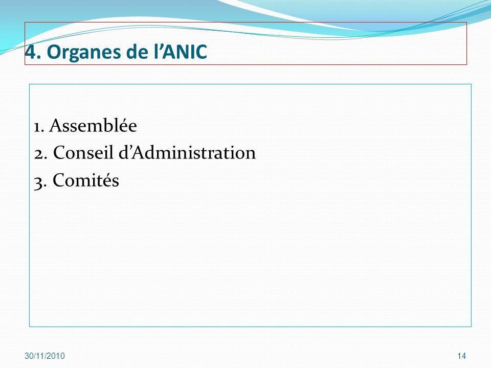 4. Organes de l'ANIC 1. Assemblée 2. Conseil d'Administration 3. Comités 30/11/2010