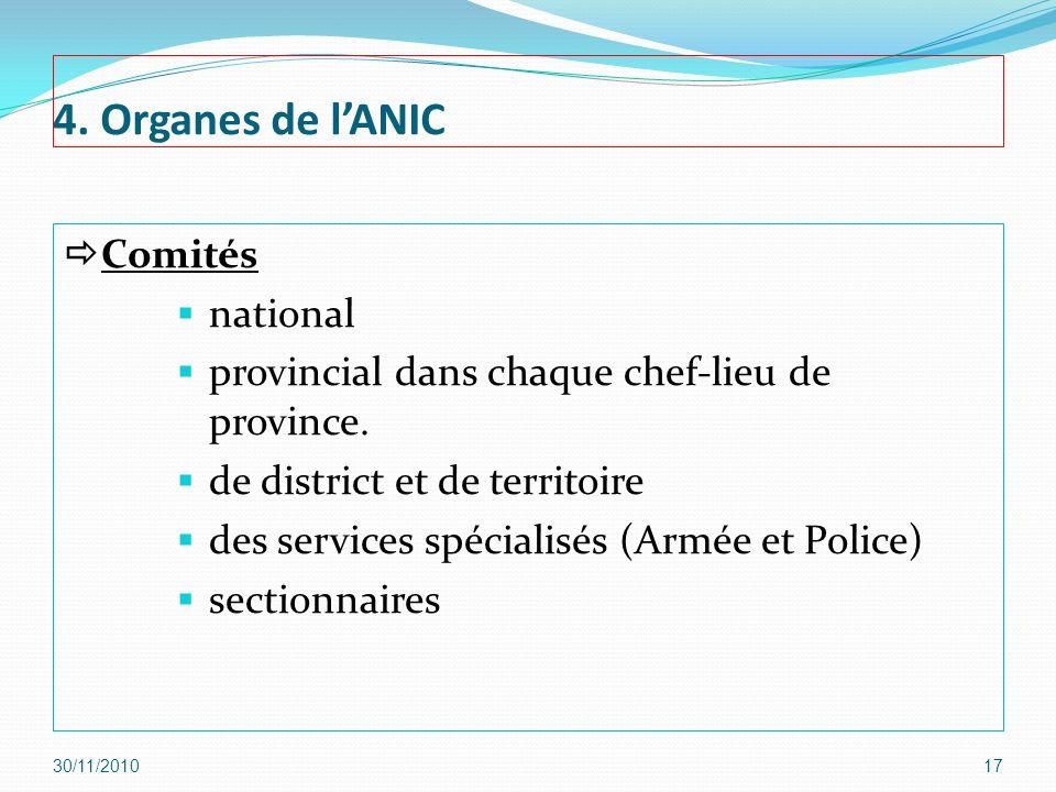 4. Organes de l'ANIC Comités national