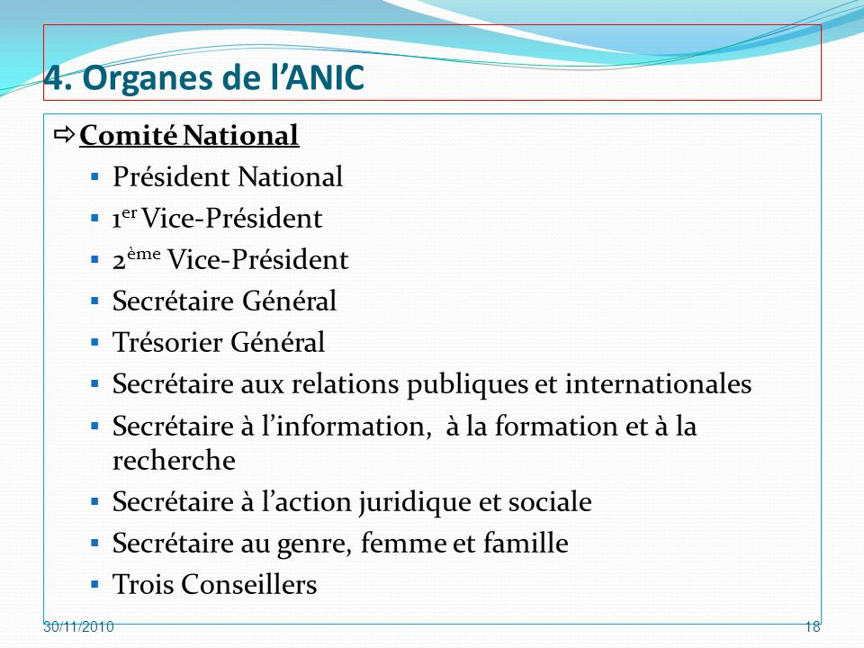 4. Organes de l'ANIC Comité National Président National