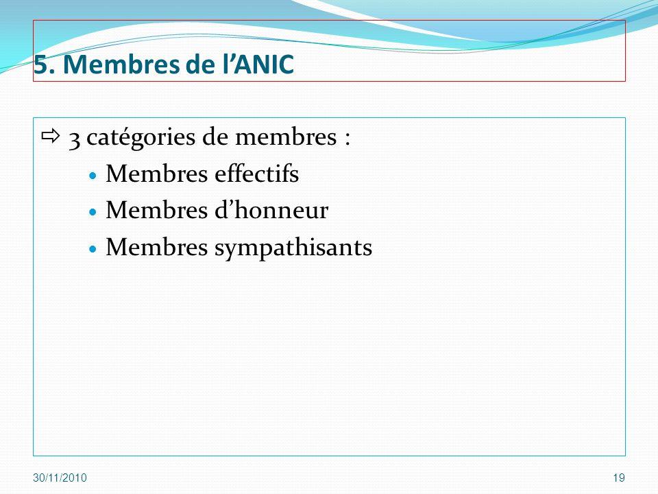 5. Membres de l'ANIC  3 catégories de membres : Membres effectifs