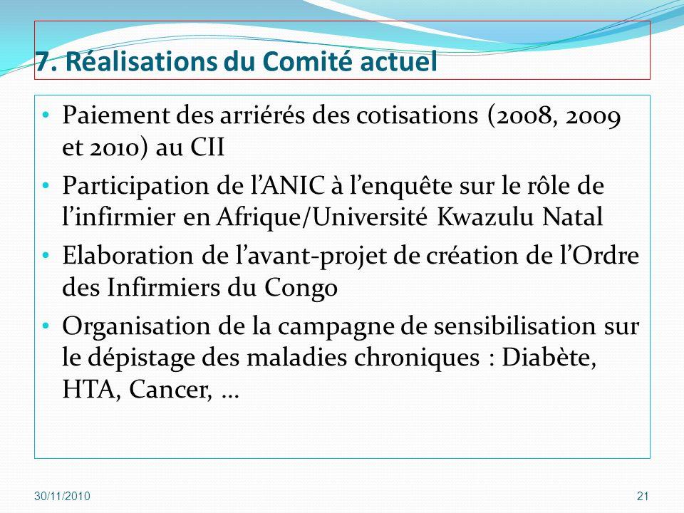7. Réalisations du Comité actuel