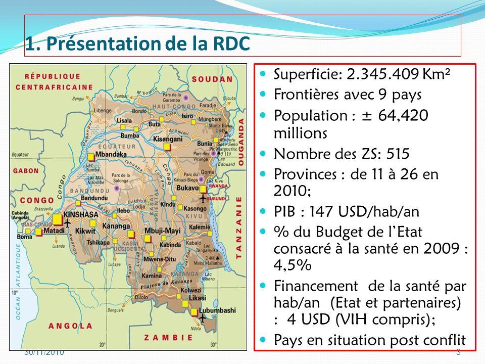 1. Présentation de la RDC Superficie: 2.345.409 Km²