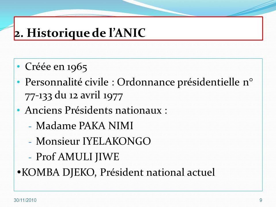 2. Historique de l'ANIC Créée en 1965