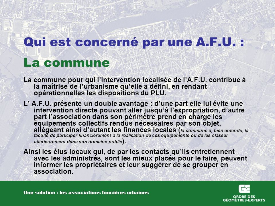 Qui est concerné par une A.F.U. : La commune