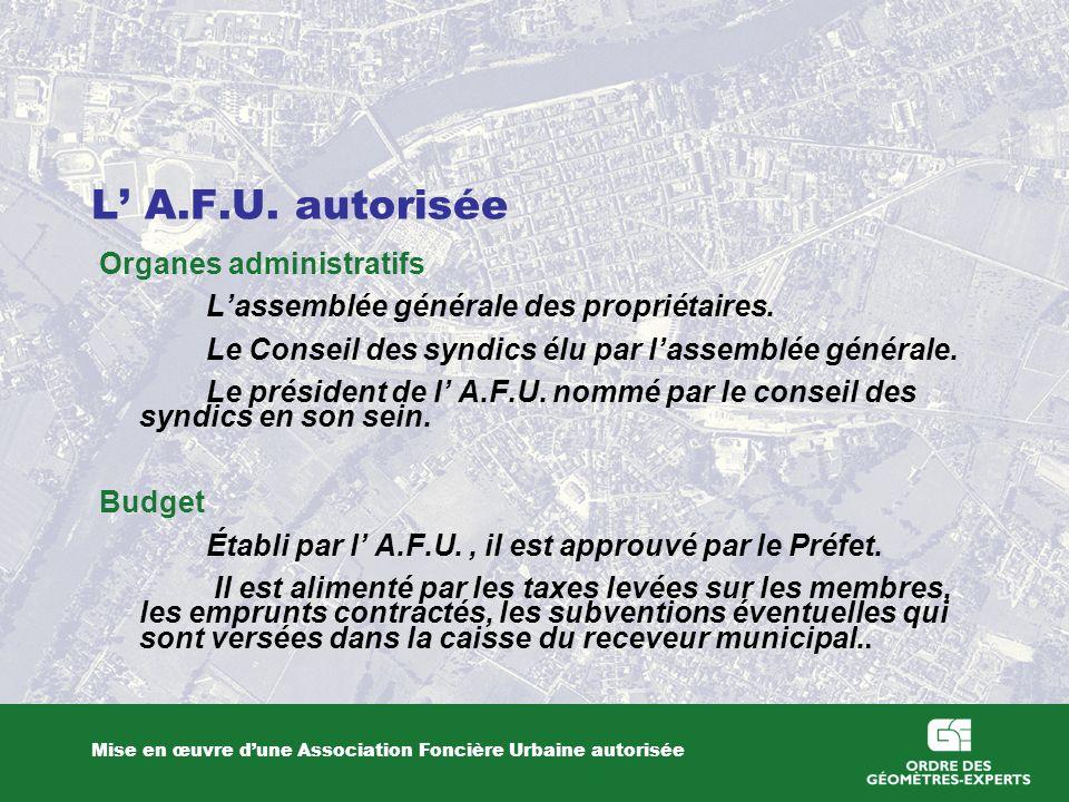L' A.F.U. autorisée Organes administratifs
