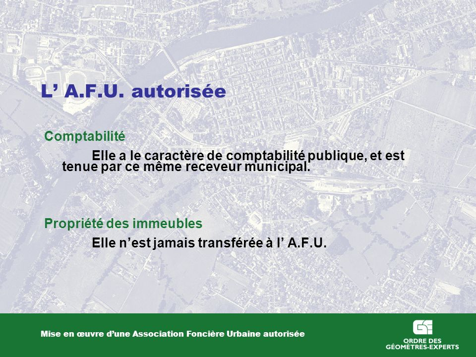 L' A.F.U. autorisée Comptabilité