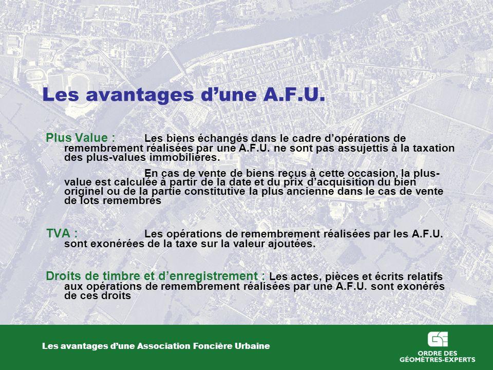 Les avantages d'une A.F.U.