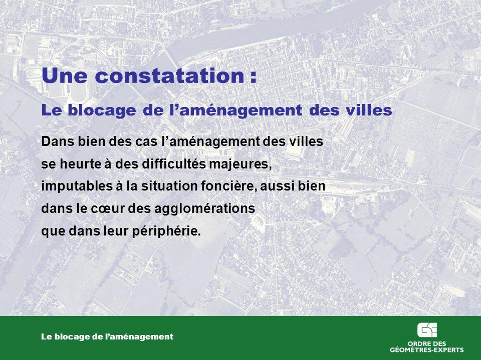 Une constatation : Le blocage de l'aménagement des villes