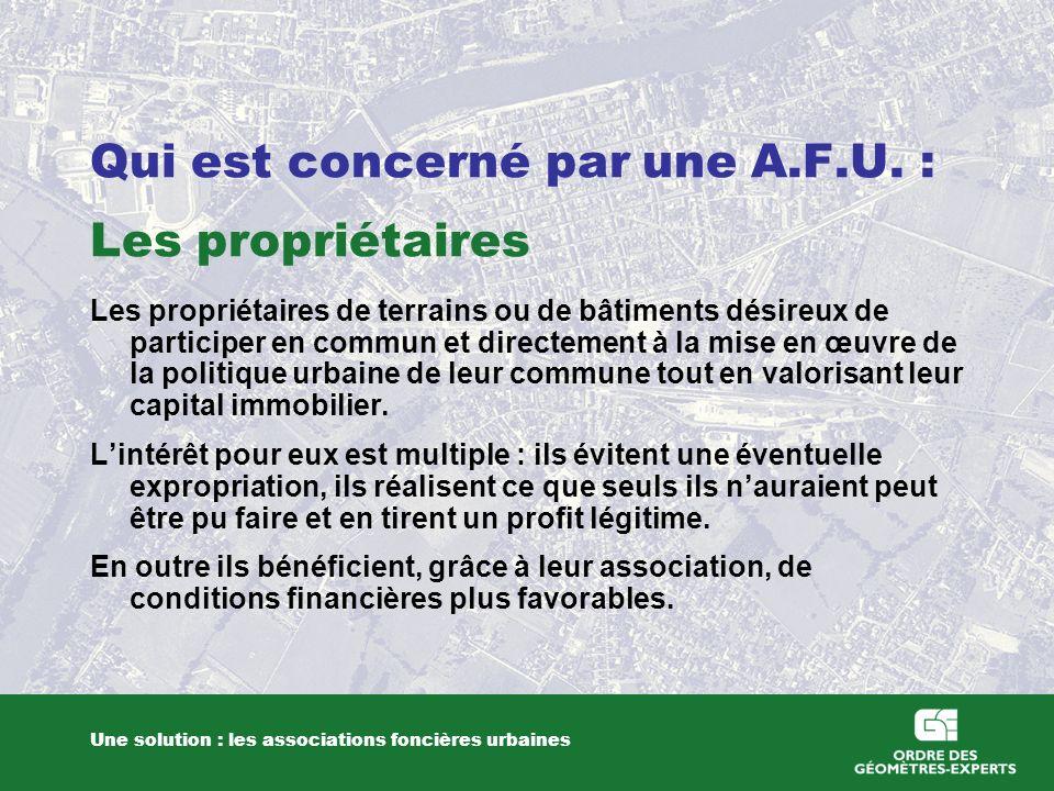 Qui est concerné par une A.F.U. : Les propriétaires