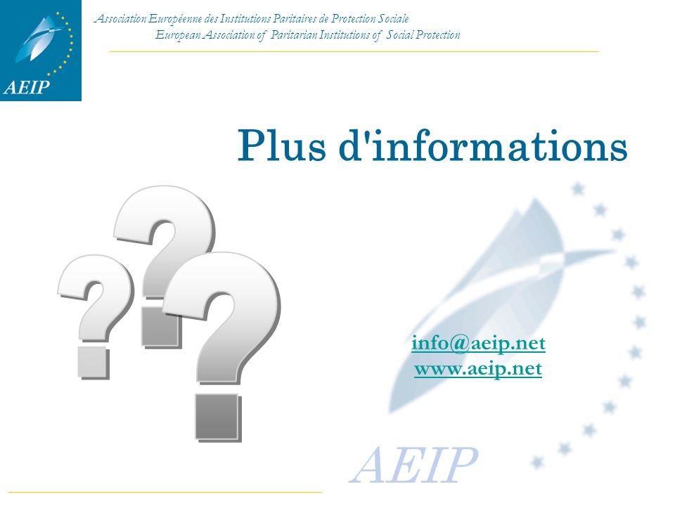 Plus d informations info@aeip.net www.aeip.net