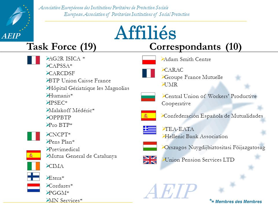 Affiliés Task Force (19) Correspondants (10) Adam Smith Centre