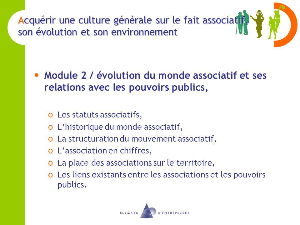 Acquérir une culture générale sur le fait associatif, son évolution et son environnement