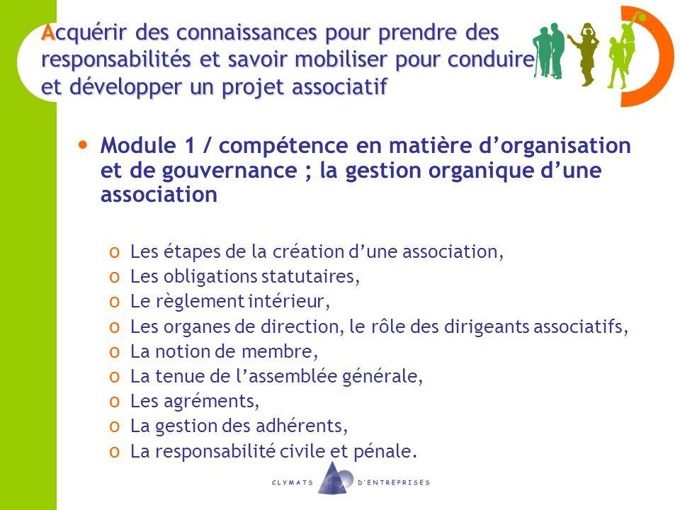 Acquérir des connaissances pour prendre des responsabilités et savoir mobiliser pour conduire et développer un projet associatif