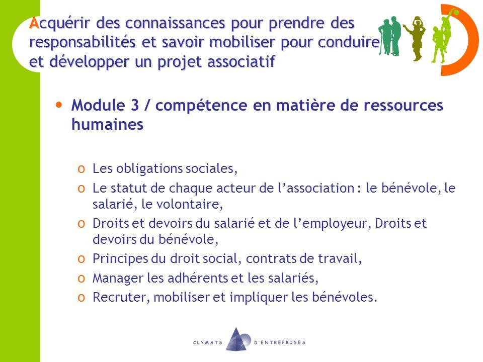 Module 3 / compétence en matière de ressources humaines