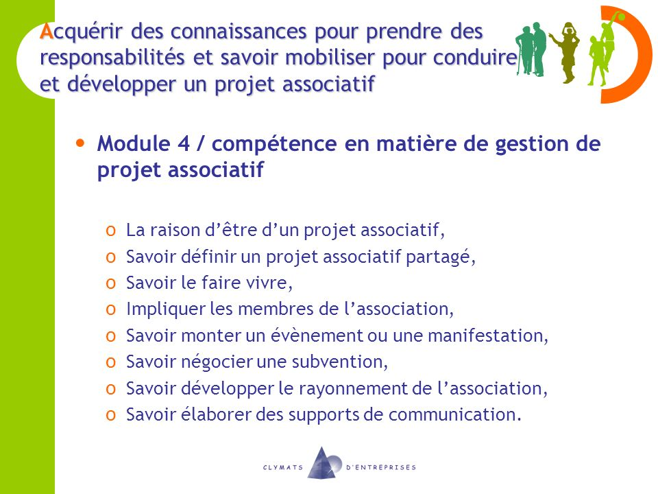 Module 4 / compétence en matière de gestion de projet associatif