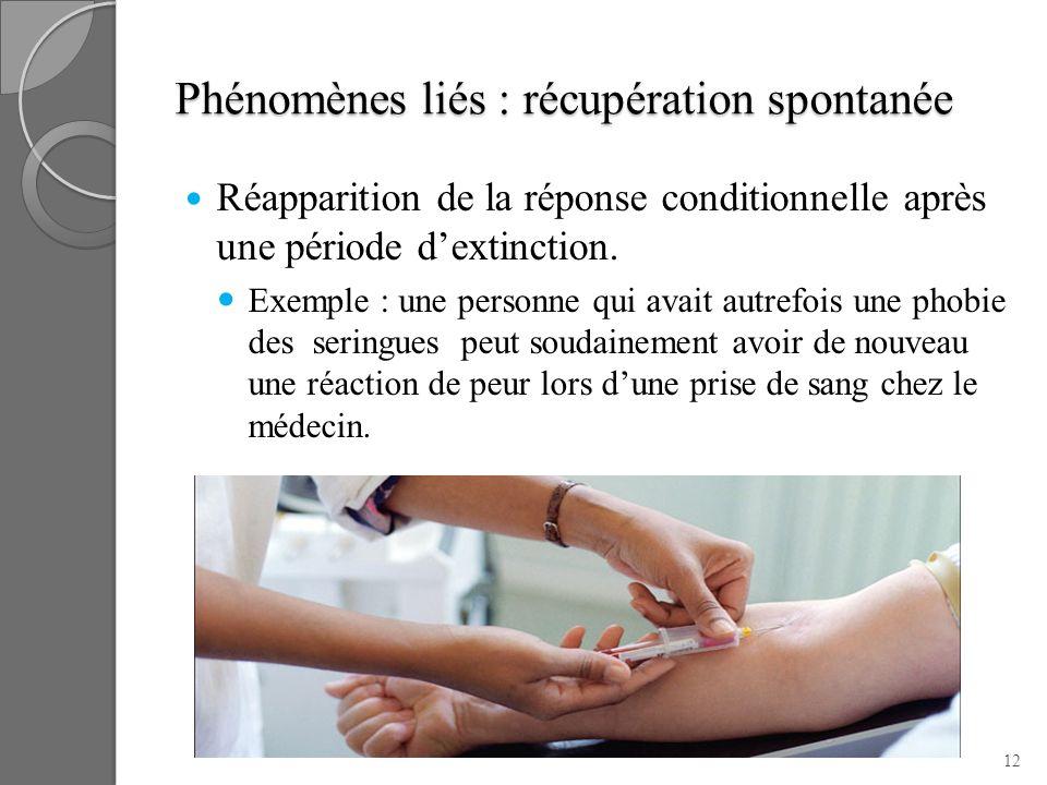 Phénomènes liés : récupération spontanée