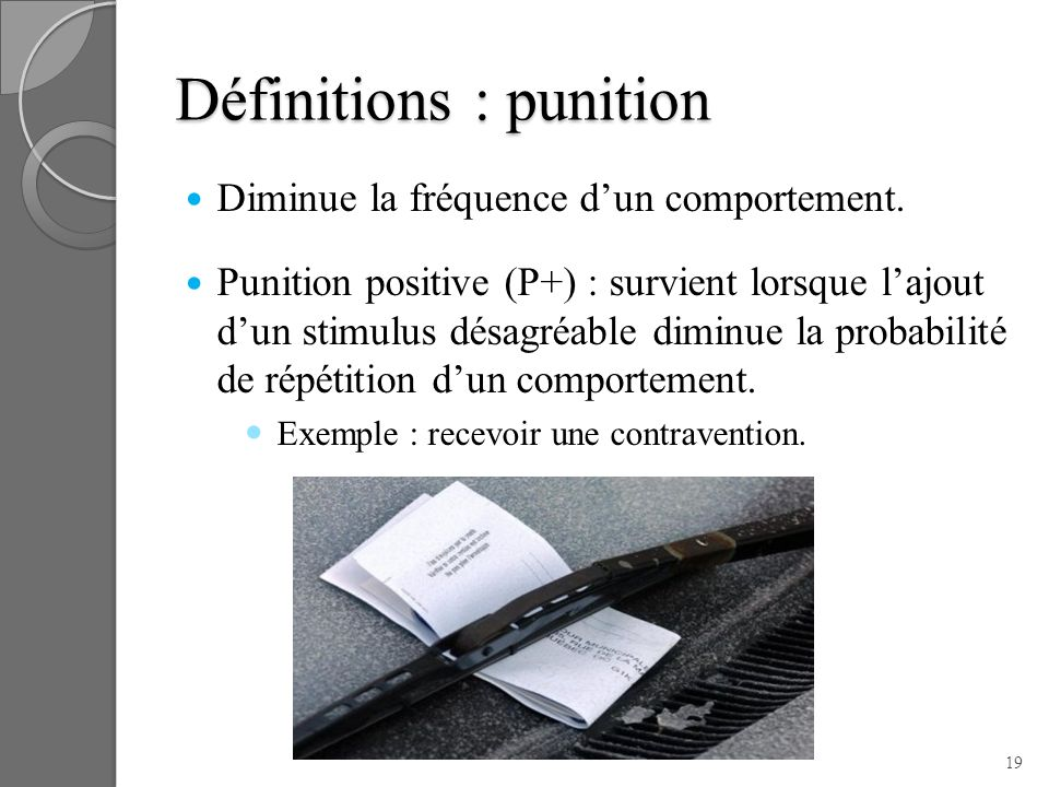 Définitions : punition