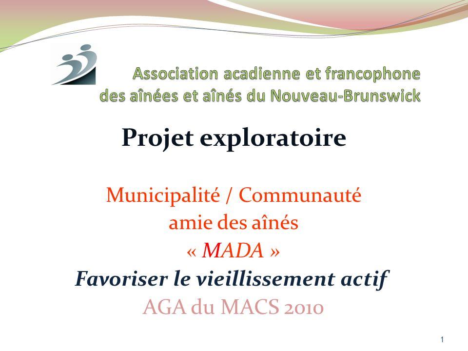 Projet exploratoire Favoriser le vieillissement actif AGA du MACS 2010