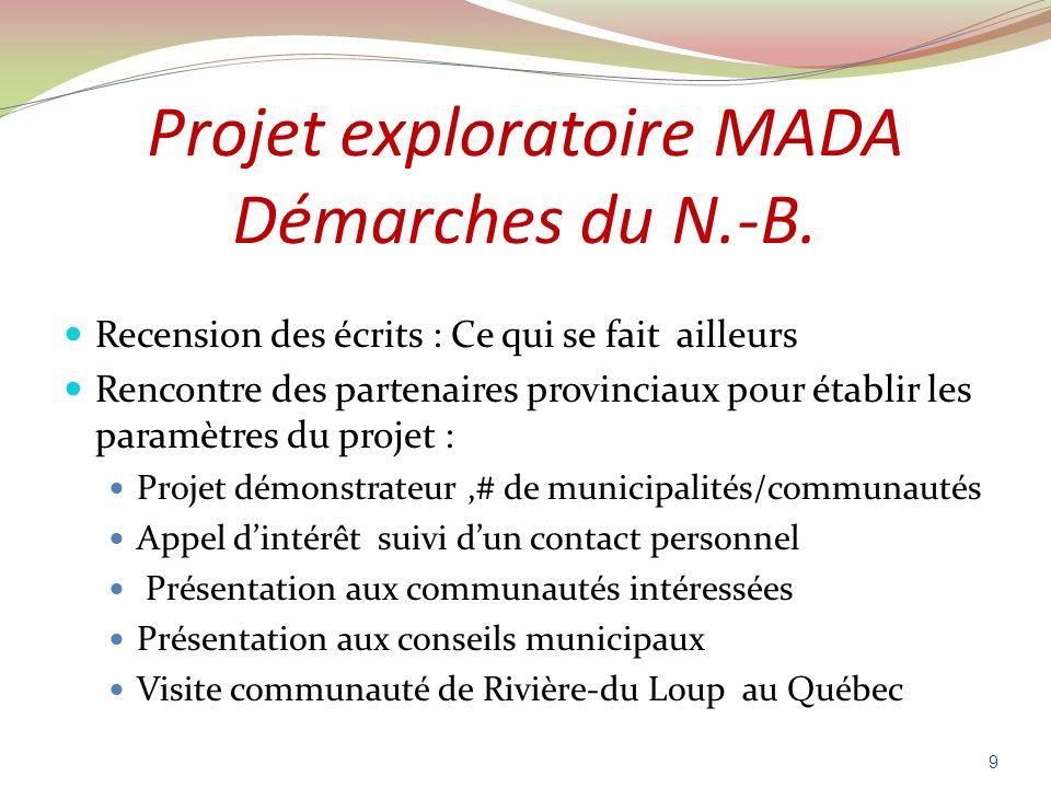 Projet exploratoire MADA Démarches du N.-B.