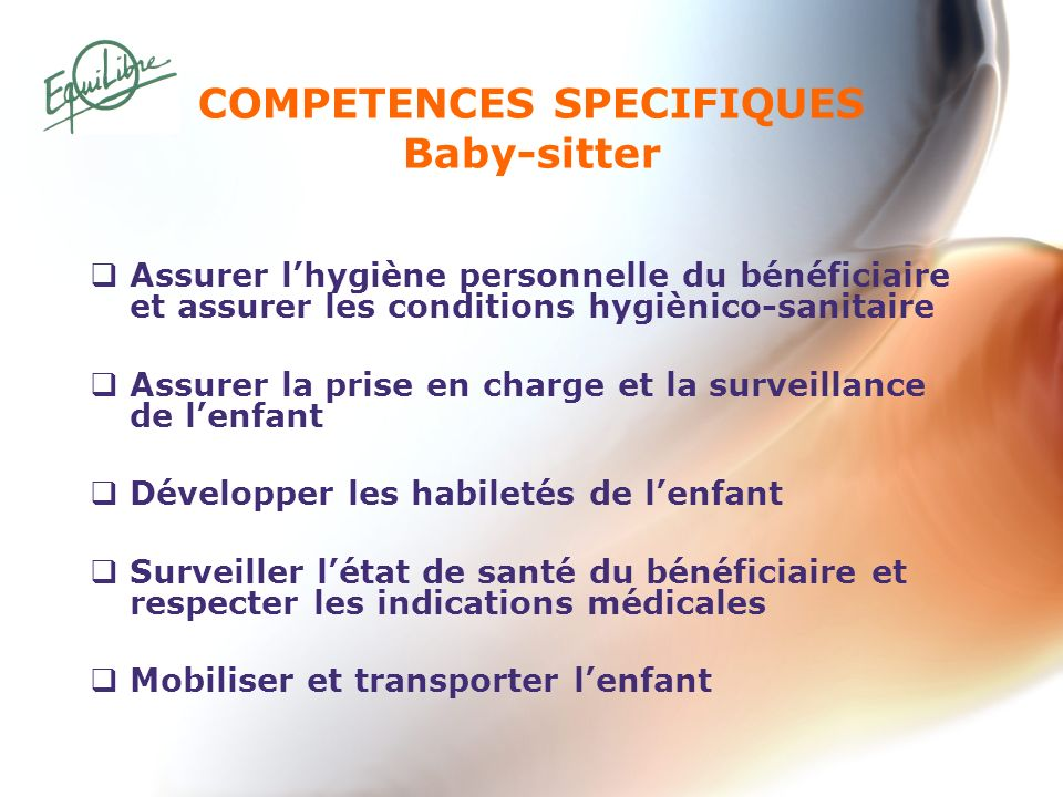 COMPETENCES SPECIFIQUES Baby-sitter