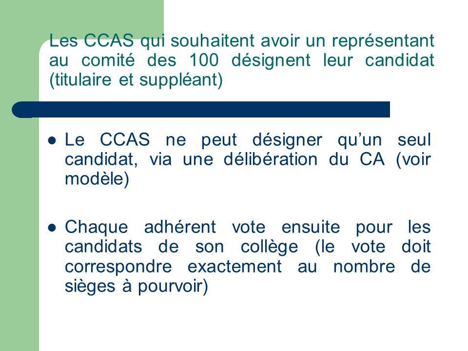 Les CCAS qui souhaitent avoir un représentant au comité des 100 désignent leur candidat (titulaire et suppléant)