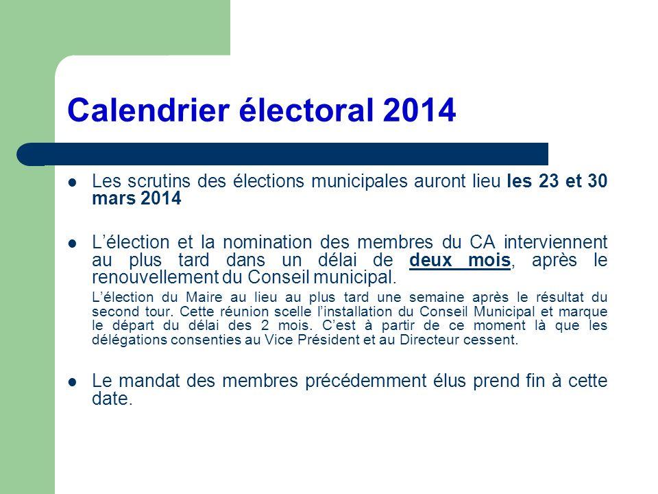 Calendrier électoral 2014 Les scrutins des élections municipales auront lieu les 23 et 30 mars 2014.