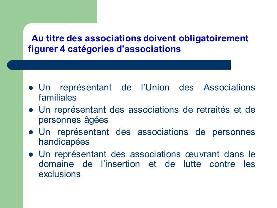 Au titre des associations doivent obligatoirement figurer 4 catégories d'associations