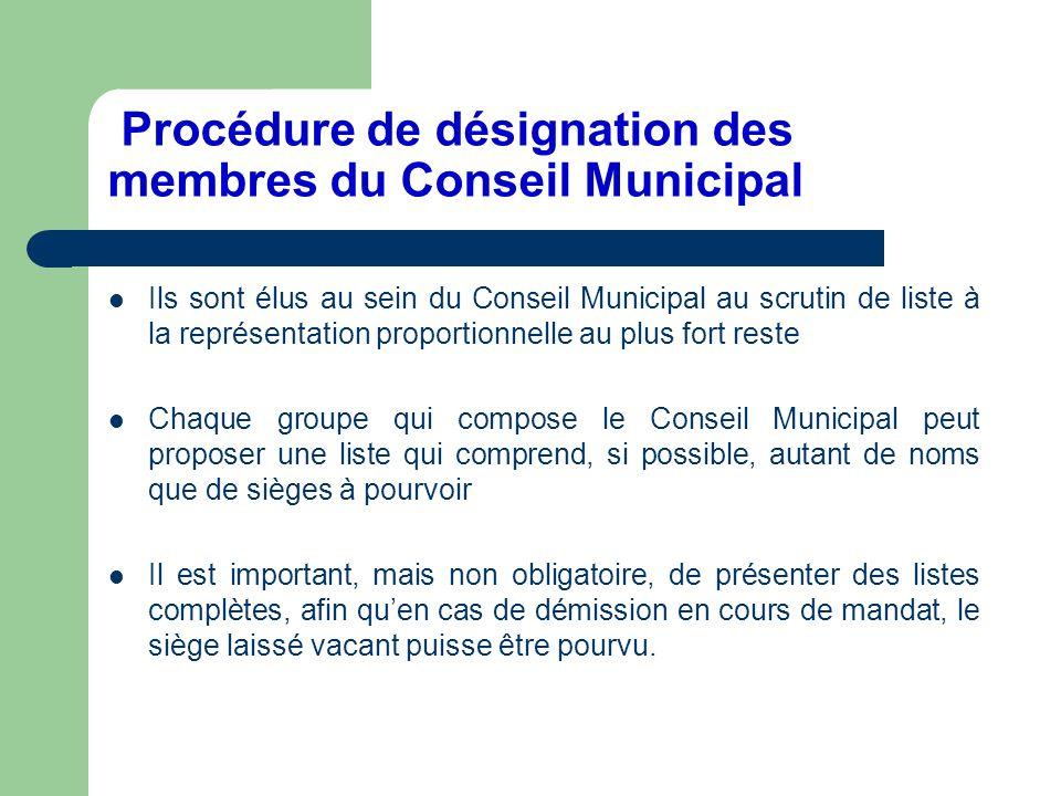 Procédure de désignation des membres du Conseil Municipal
