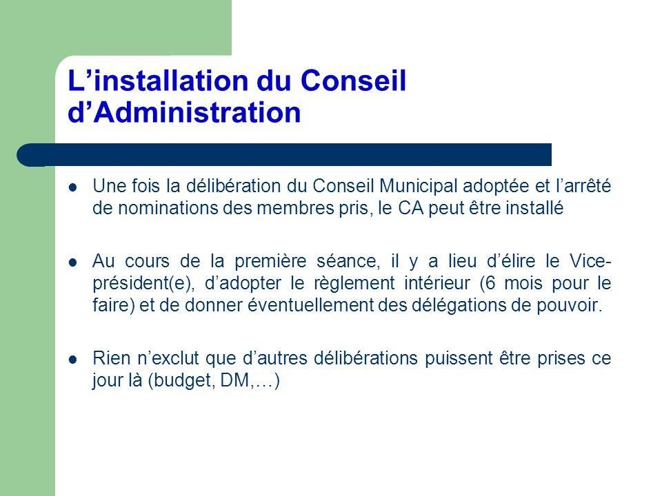 L'installation du Conseil d'Administration