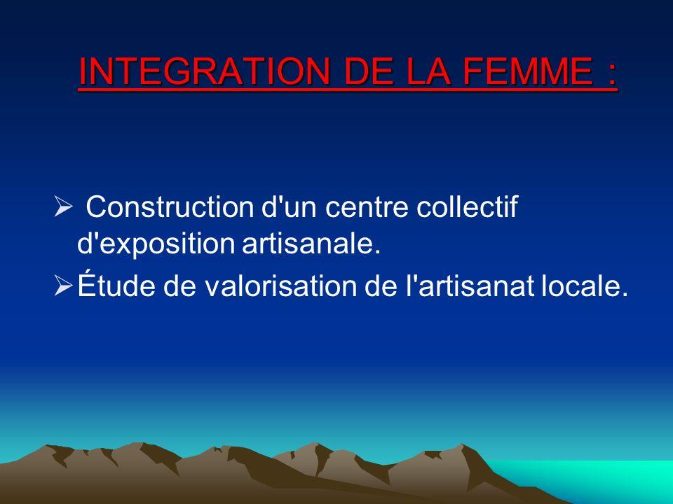 INTEGRATION DE LA FEMME :