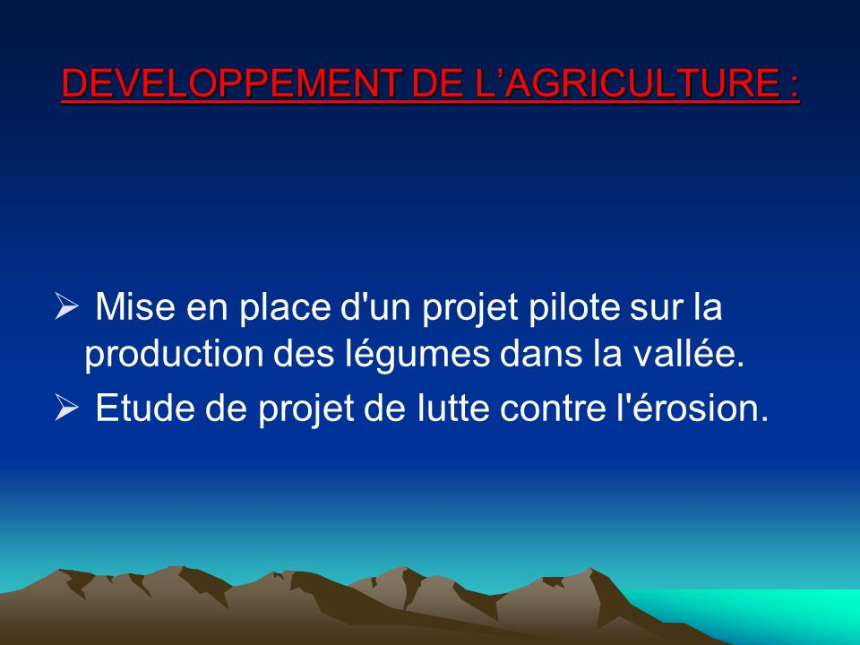 DEVELOPPEMENT DE L'AGRICULTURE :