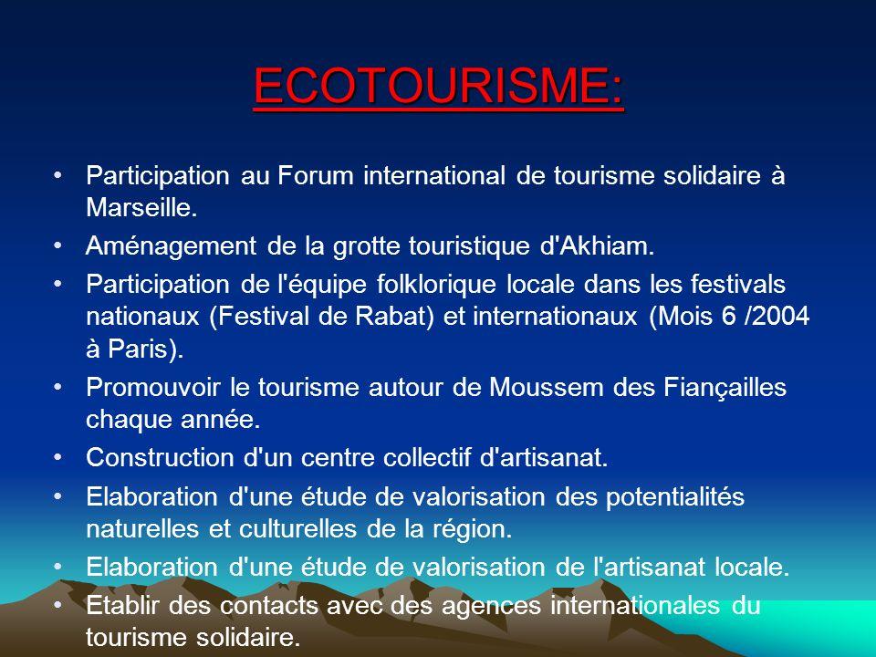 ECOTOURISME: Participation au Forum international de tourisme solidaire à Marseille. Aménagement de la grotte touristique d Akhiam.