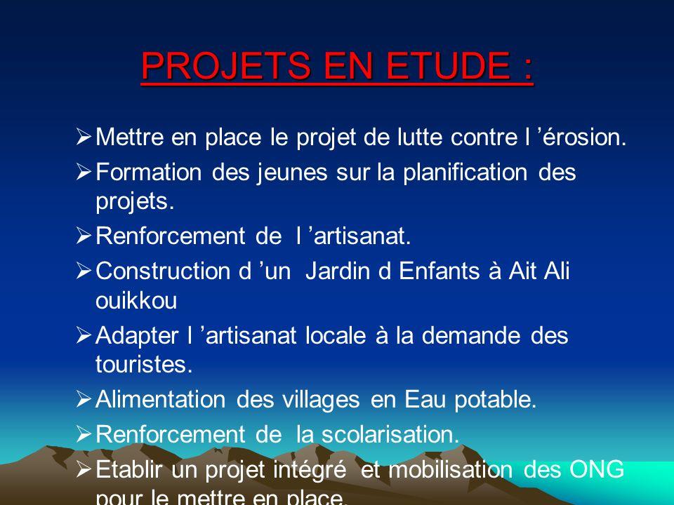 PROJETS EN ETUDE : Mettre en place le projet de lutte contre l 'érosion. Formation des jeunes sur la planification des projets.