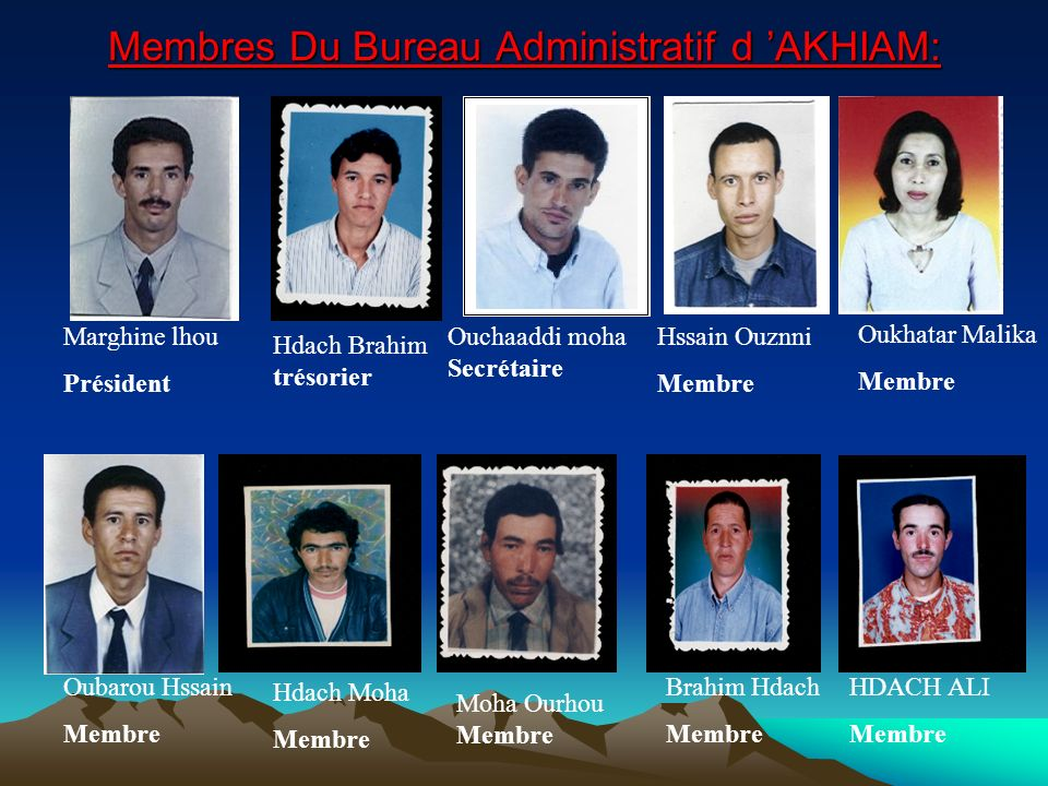 Membres Du Bureau Administratif d 'AKHIAM: