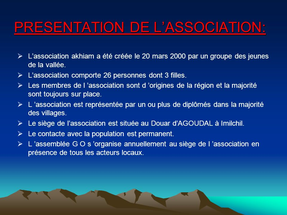 PRESENTATION DE L'ASSOCIATION: