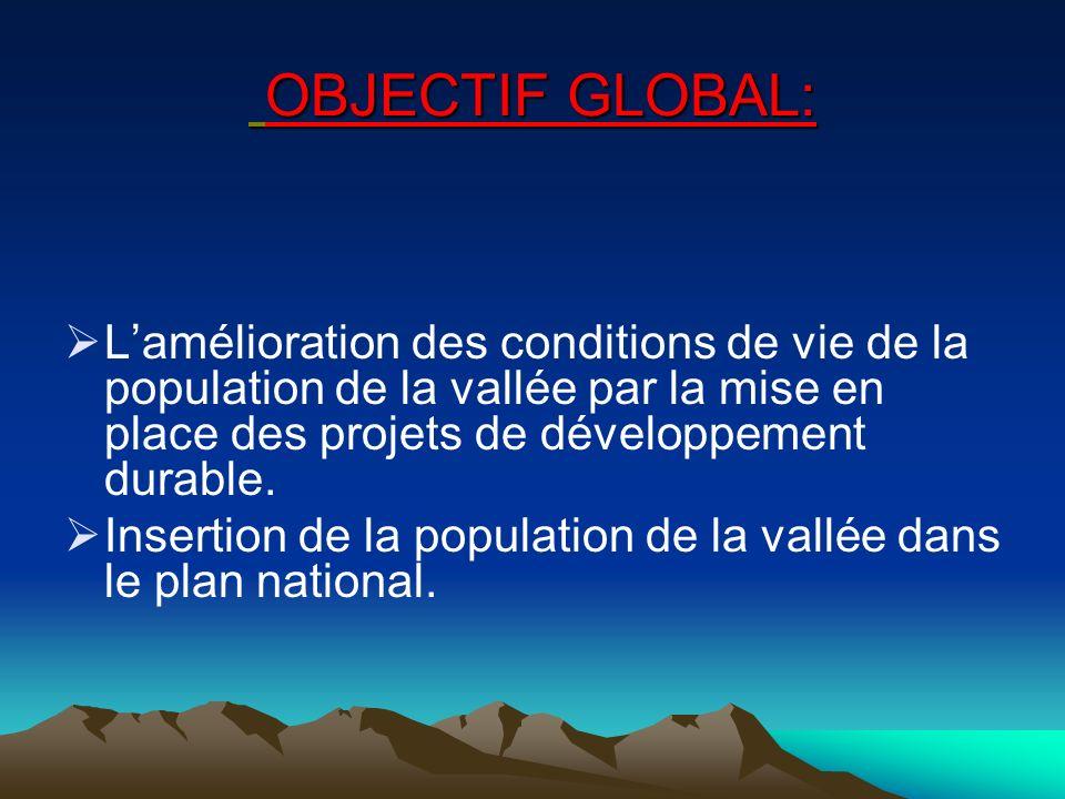 OBJECTIF GLOBAL: L'amélioration des conditions de vie de la population de la vallée par la mise en place des projets de développement durable.