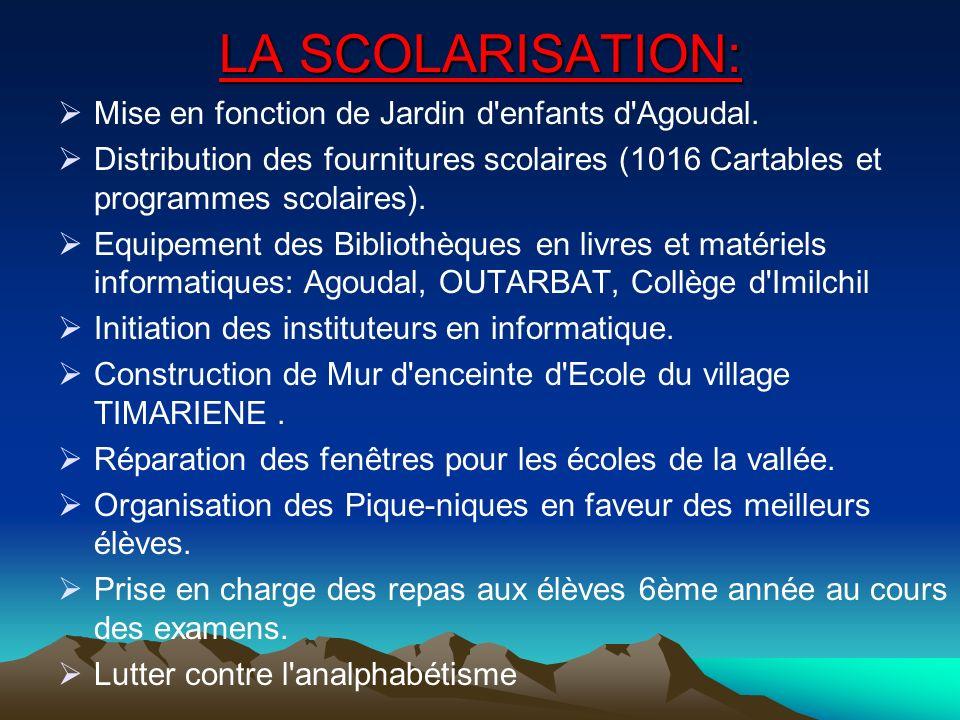 LA SCOLARISATION: Mise en fonction de Jardin d enfants d Agoudal.
