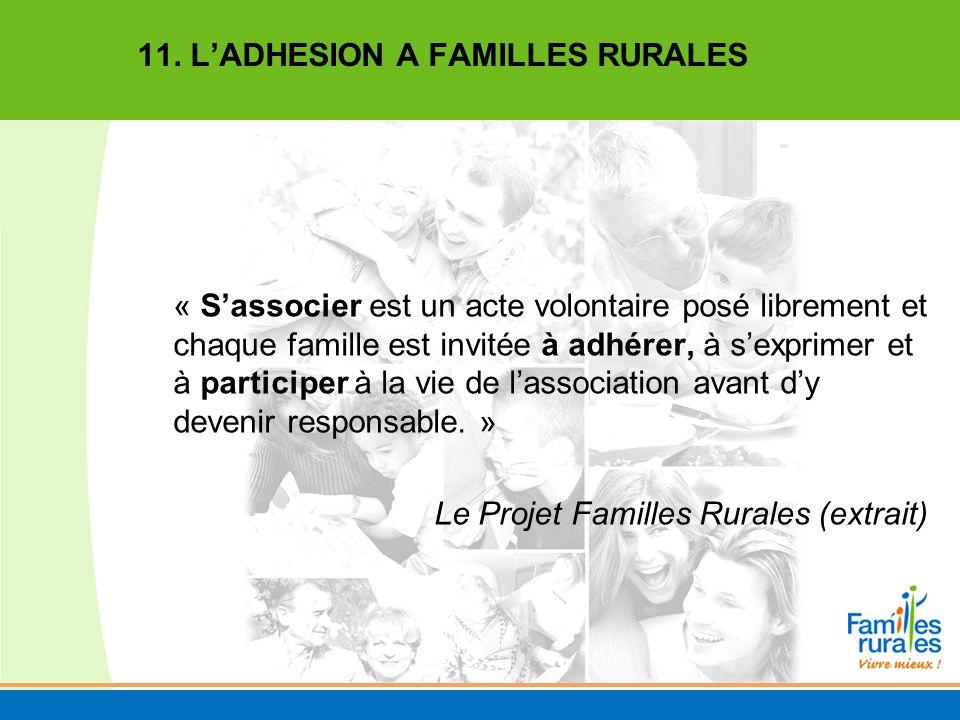 11. L'ADHESION A FAMILLES RURALES