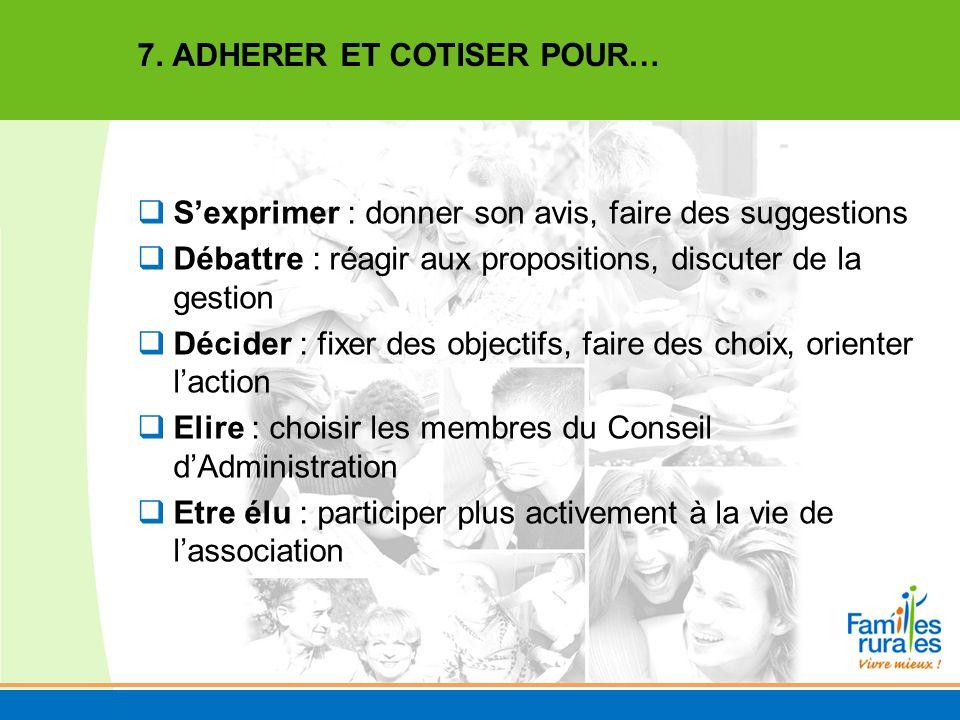 7. ADHERER ET COTISER POUR…