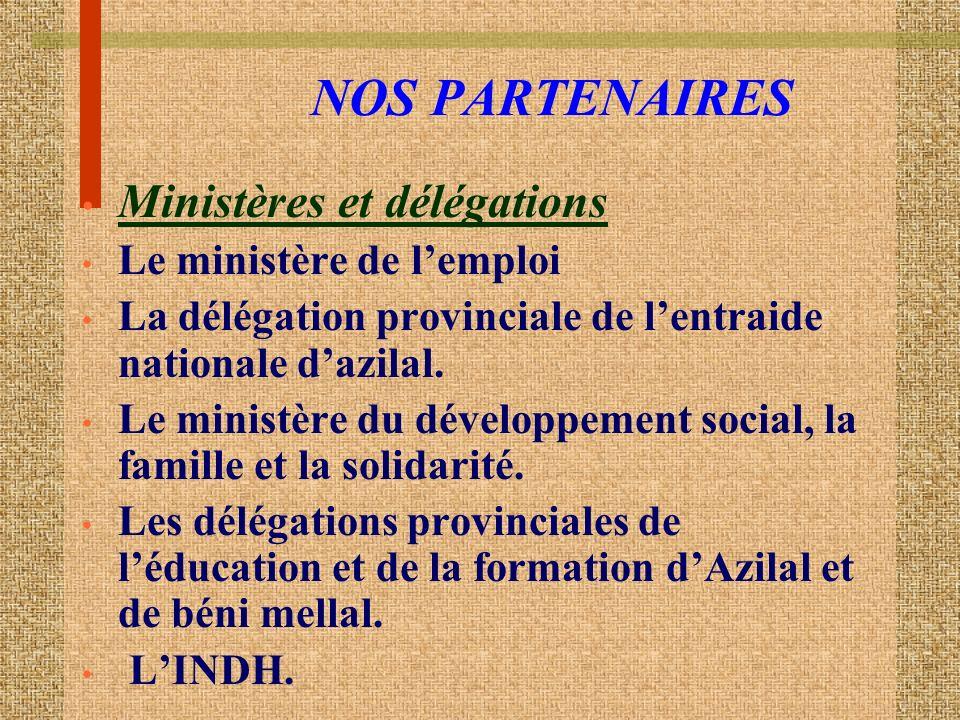 NOS PARTENAIRES Ministères et délégations Le ministère de l'emploi