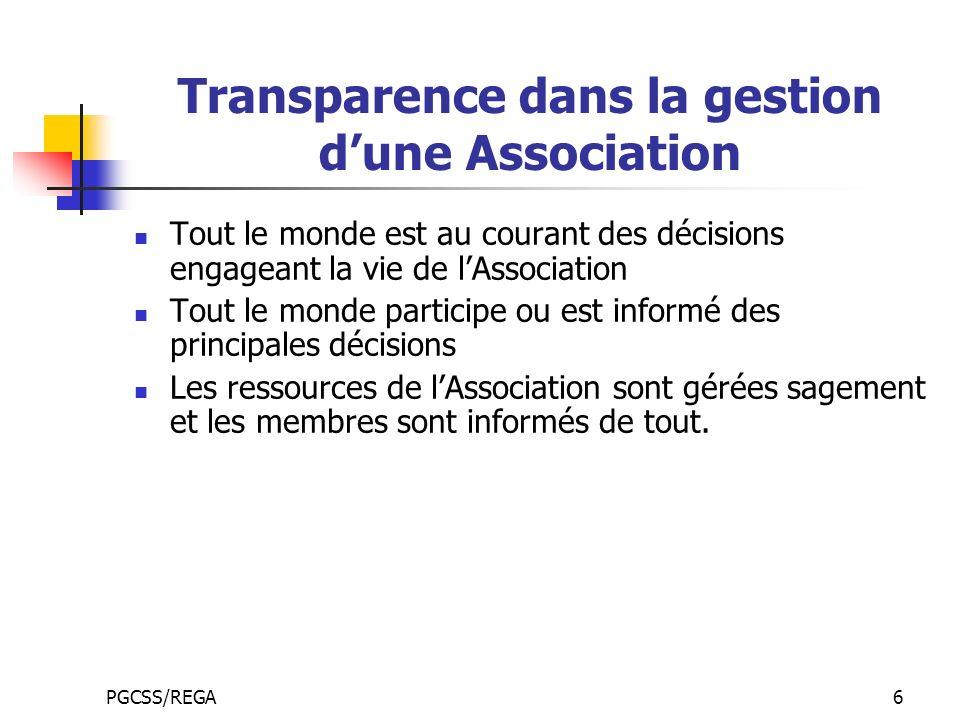 Transparence dans la gestion d'une Association