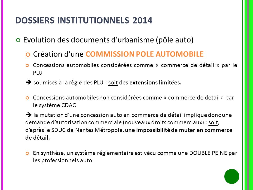 DOSSIERS INSTITUTIONNELS 2014