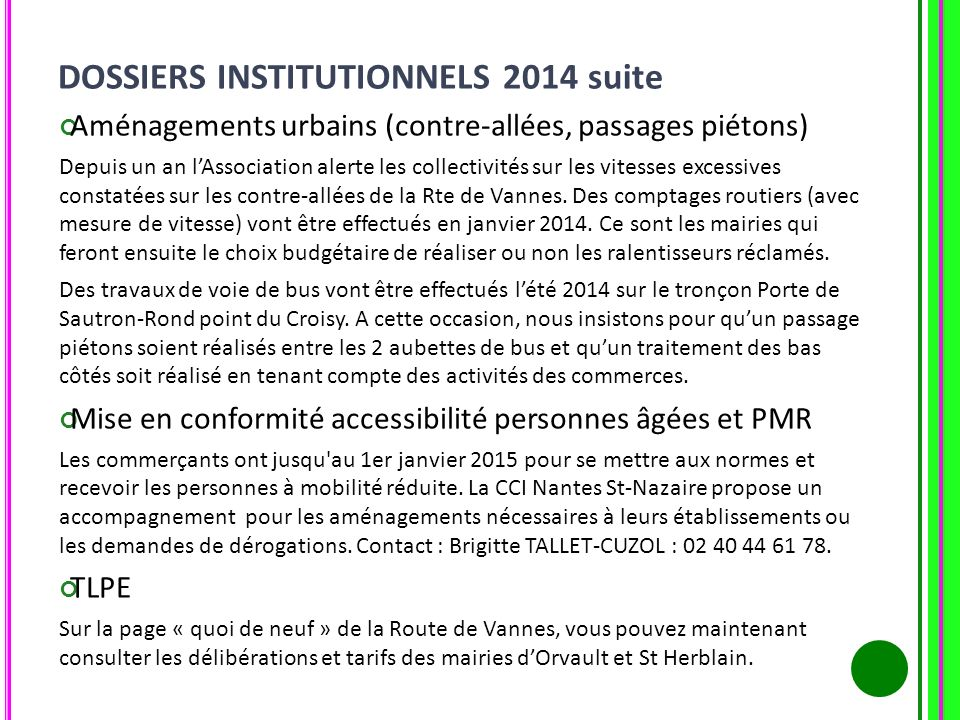 DOSSIERS INSTITUTIONNELS 2014 suite