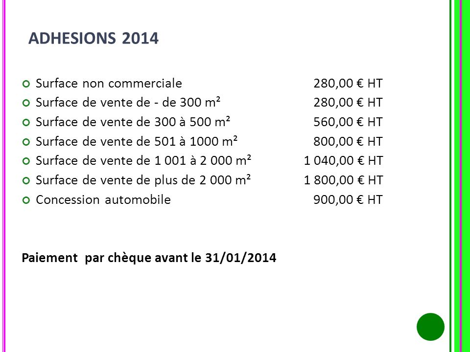 ADHESIONS 2014 Surface non commerciale 280,00 € HT