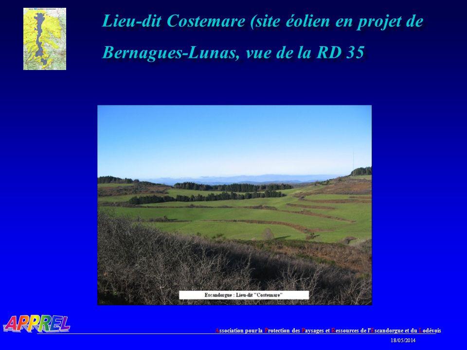 Lieu-dit Costemare (site éolien en projet de Bernagues-Lunas, vue de la RD 35